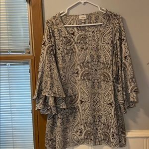Paisley Top with Bell Sleeves